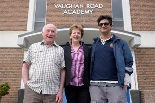 Jack Parker, chair of Vaughan Road alumni association (left), Norma Meneguzzi Spall, chair of farewell tribute committee
